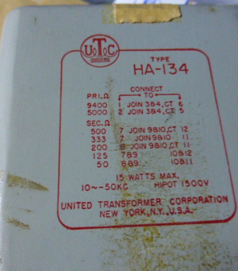 UTC HA-134 Output Transformer ¥43,200