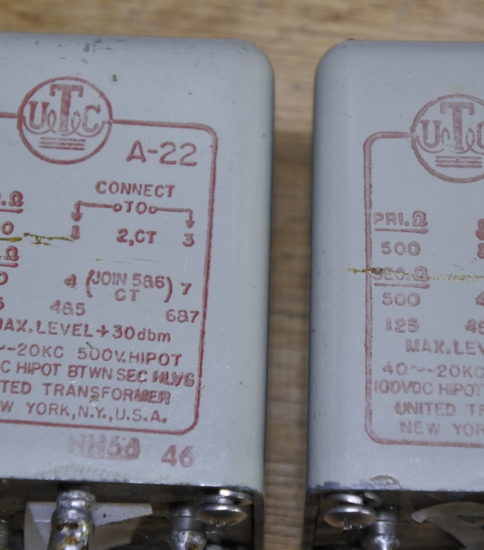 UTC  A-22  Input transformers ¥44,000/Pair