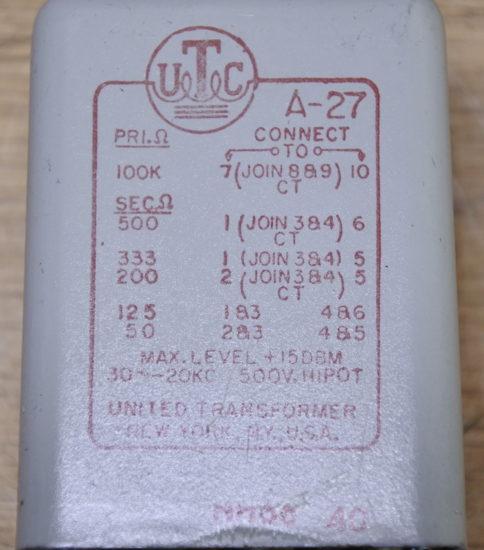 UTC  A-27  Line transformer ¥33,000